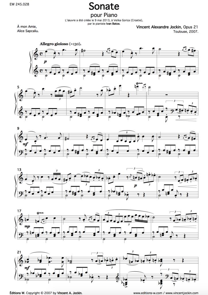 Sonate, Opus 21
