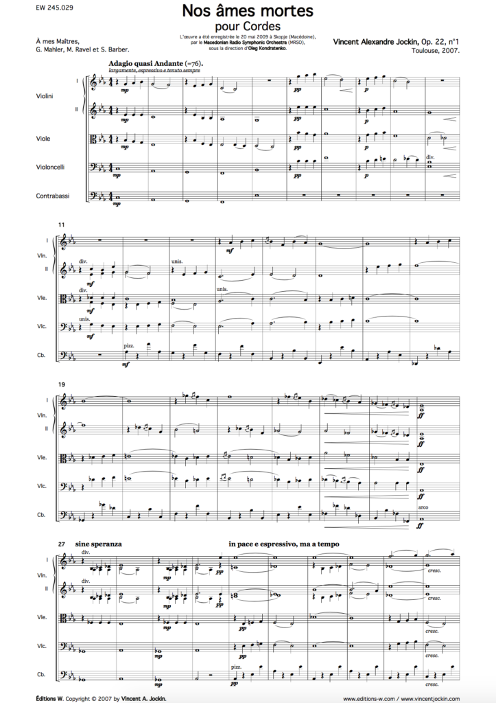 Nos âmes mortes, Op. 22, n° 1